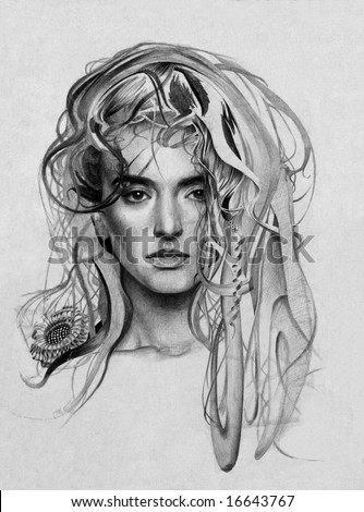My own pencil drawing of young lady with fantasy hairs. - stock photo