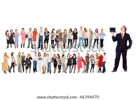 My people - all in this laptop - stock photo
