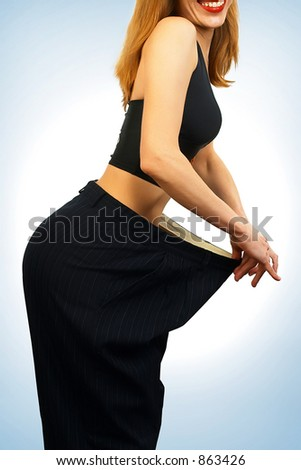 My previous size. After diet I can not wear my clothes. - stock photo
