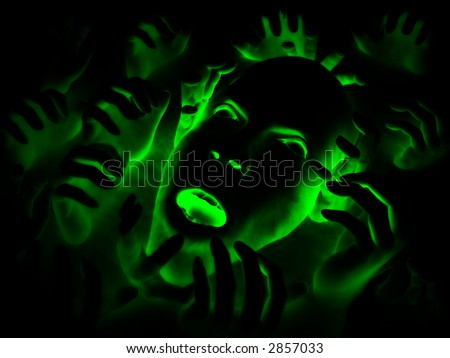 My vision a concept of someone who is overwhelmed with pain, but it could also be a abstract nightmare. A good image for Halloween. - stock photo