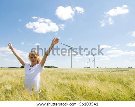 My windfarm. Renewable energy concept - stock photo