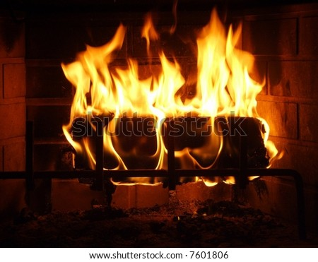 My wonderful fireplace - stock photo