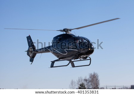 MYACHKOVO, MOSCOW REGION, RUSSIA - APRIL 13, 2013: Training flights at the airfield Myachkovo. Eurocopter EC 120B