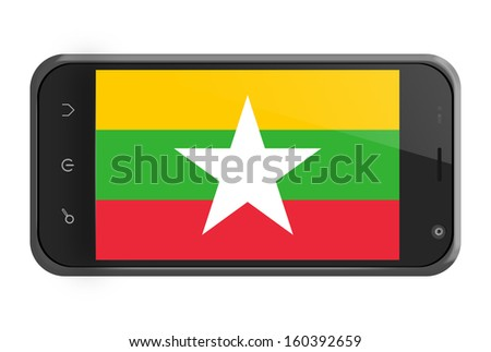 Myanmar flag on smartphone screen isolated on white - stock photo