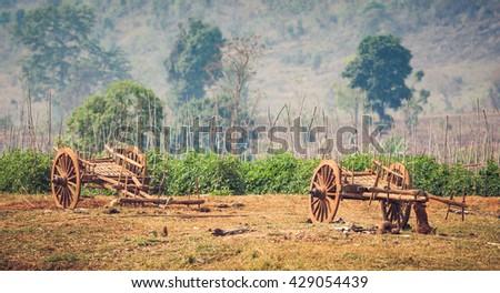 Myanmar rural scene with oxcart at Sankar - stock photo