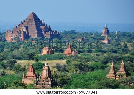 Myanmar sightseeing: Temples in the plain of Bagan - stock photo