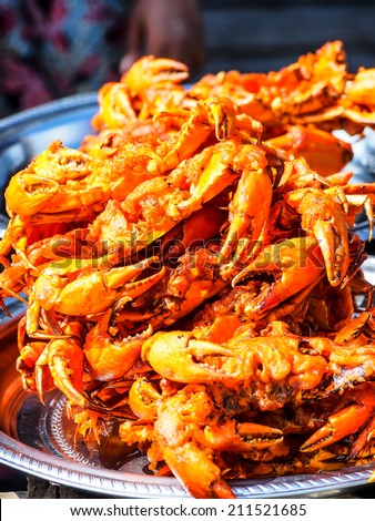 Myanmar style deep fried crab  - stock photo