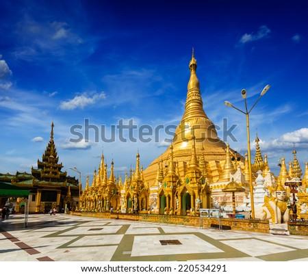 Myanmer famous sacred place and tourist attraction landmark - Shwedagon Paya pagoda. Yangon, Myanmar - stock photo