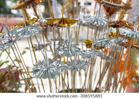 MYAWADDY MYANMAR-AGUST21 :Tiered umbrella  silver and gold to worship the faith that life will always have peace at the temple Shwe Myin Wan Myawaddy province, Karen state, Myanmar,  on August21, 2015