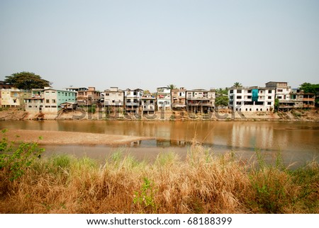 Myawaddy slums along the River bordering Thailand and Burma, Maesot - stock photo