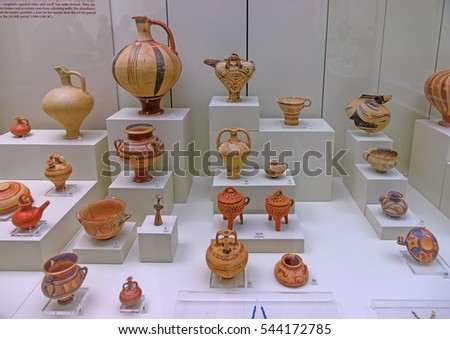 MYKINES, GREECE - OCT 27, 2013:  Ancient ceramic pots in the famous archaelogical museum of Ancient Mykines.