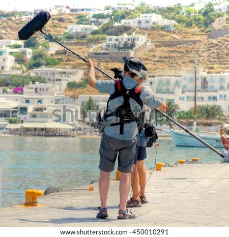 MYKONOS - GREECE , 17 june 2015 ; Filmcrew in action on the Island of Mykonos during the making of a filmscene on 17 june 2015