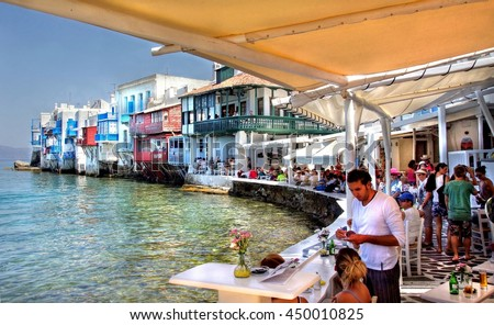 MYKONOS - GREECE, 16 june 2015 ;  The famous bay at Mykonos town ; the place were tourists go to have a drink or a bite to eat while enjoying the view and Greek culture and lifestyle on 16 june 2015