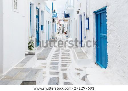 Mykonos streetview, Greece - stock photo