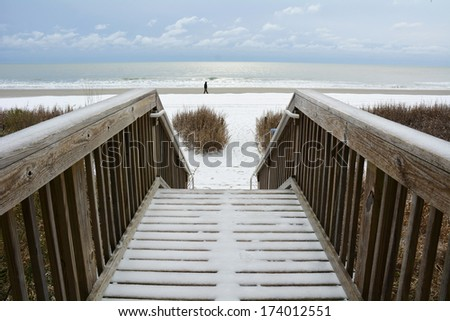 MYRTLE BEACH - JANUARY 29: Very rare Winter storm Leon hits South and virtually shuts down the beach resort of Myrtle Beach South Carolina, January 29, 2014.  - stock photo
