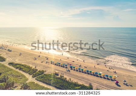 Myrtle Beach South Carolina aerial view at sunset - stock photo