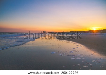 Myrtle Beach Sunset. The sunsets along the wide sandy beaches of South Carolina's Grand Strand. - stock photo