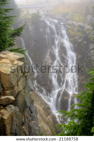 Myrtle Falls on a foggy day at Mt. Rainier National Park