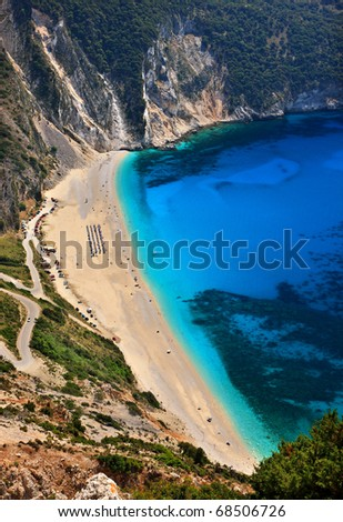Myrtos beach in Kefalonia island - stock photo