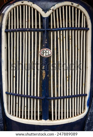 MYSHKIN, RUSSIA-AUGUST 14: grille retro car Opel in the private museum of retro technology August 14, 2014 in the town of Myshkin - stock photo