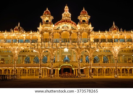 MYSORE, INDIA - JANUARY 31 2016: Mysore Palace was the former seat of the royal family of Mysore who ruled the princely state from 1399 to 1950 and present building was completed in 1912.