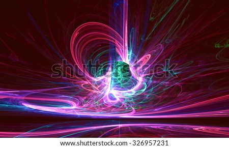 Mysterious alien form colorfull  magnetic fields in the dark night sky. Fractal art graphics. - stock photo