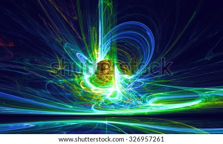 Mysterious alien form magnetic fields in the dark night sky. Fractal art graphics. - stock photo