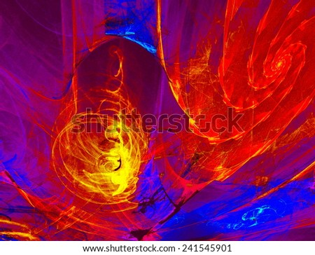 Mysterious alien form magnetic fields in the mysterious night sky. Fractal art graphics - stock photo