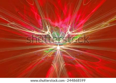 Mysterious alien form magnetic fields in the red sky. Fractal art graphics. - stock photo