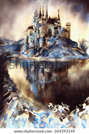 Mysterious ancient castle on the lake in the style of fantasy. Watercolor on paper - hand illustration. - stock photo