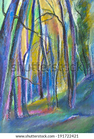 mysterious and fairy forest painted in pastel - stock photo
