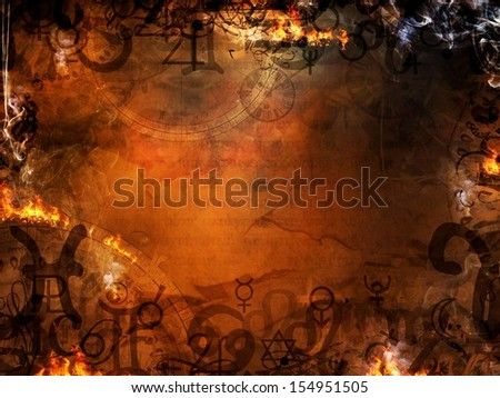 mysterious astrological spells esoteric background - stock photo