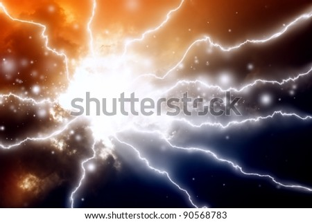 Mysterious background - lightnings in dark sky - stock photo