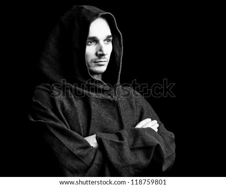 mysterious Catholic monk - stock photo