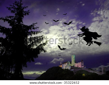 Mysterious dark scene with flying witch, castle ruin, bats and big tree in moonlight - stock photo