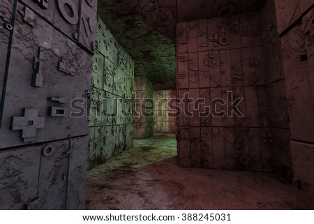 Mysterious Enigmatic Maze Labyrinth 3D Illustration - stock photo