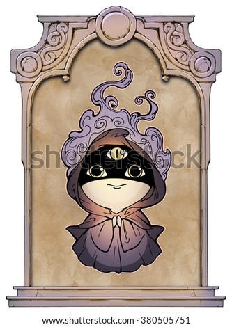 Mysterious fantastic cartoon character decorated frame in form of the stone decorated gothic arch - stock photo