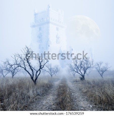 Mysterious foggy scenery.Castle and full moon. - stock photo