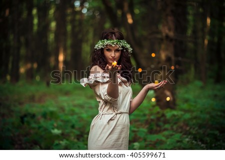 Mysterious Forest Nymph - stock photo