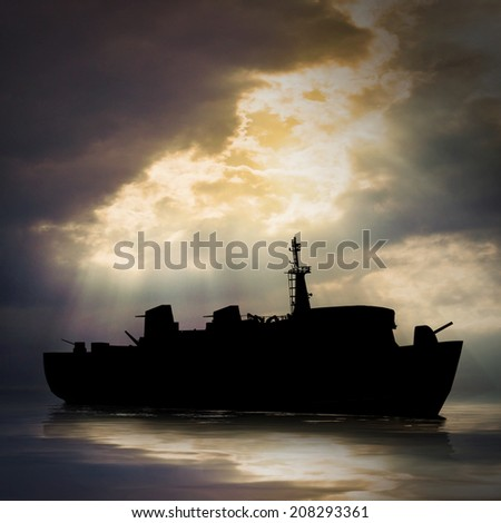 Mysterious ghost ship on a evening sea. - stock photo