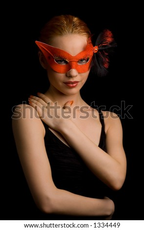 mysterious lady in red mask - stock photo