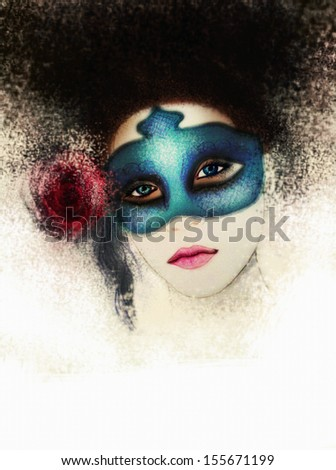 Mysterious lady with mask - stock photo