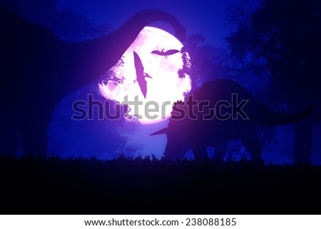 Mysterious Magical Fantasy Fairy Tale Forest at Night in the Full Moon light 3D artwork - stock photo