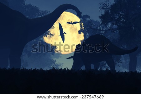 Mysterious Magical Prehistoric Fantasy Forest at Night in the Full Moon light 3D artwork - stock photo