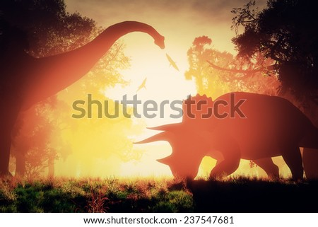 Mysterious Magical Prehistoric Fantasy Forest in the Sunset Sunrise 3D artwork - stock photo
