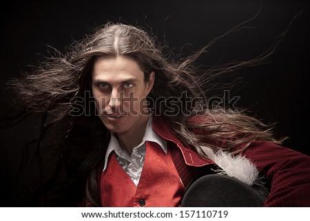 Mysterious man - stock photo