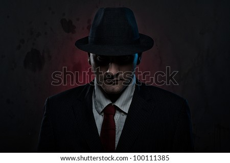 Mysterious Mobster - stock photo