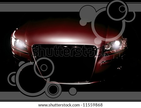Mysterious modern car in the shadows - stock photo