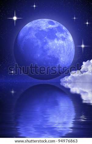 Mysterious moon and some stars clouds over the water. Abstract cosmos landscape. - stock photo