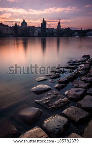Mysterious morning by the river in Prague - stock photo